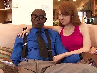 Black Stud Sean Michaels Makes Redheaded Abby Rains Cum On His Cock