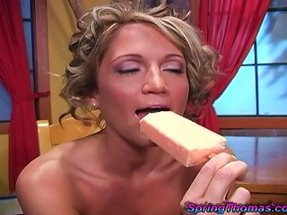Magnificent Spring Thomas Gets A Facial Cumshot After Fucking A Black Guy